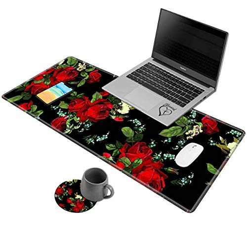 Larger Extended Desk Pad,AIRWEE Non-Slip Base Writing Desk Pad Keyboard Mat with Stitched Edges Foldable Mouse Pad for Work & Desktop,Red Flowers