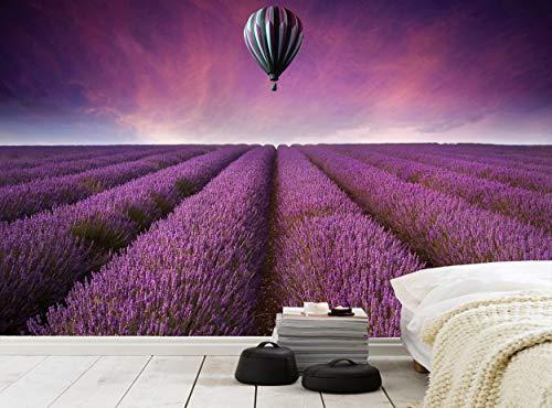 Fototapete Lavendelfeld, Wandbild, Wanddeko, Bild, riesiges Papierposter, gratis Kleister, Landschaft, Sommer, Sonnenuntergang, Luftballon, Schlafzimmer, Wohnzimmer