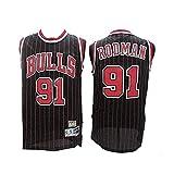 QAZWSX - Camiseta para hombre, diseño de Chicago Bulls # 91 Dennis Rodman, estilo vintage, tela transpirable y transpirable