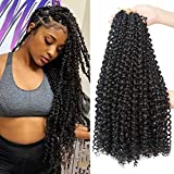 8Packs Passion Twist Crochet Hair 18Inch Water Wave Crochet Hair Passion Twist Hair Long Bohemian Braids for Passion Twist Braiding Hair Goddess Faux Locs Hair Extensions(16 Strands/Pack, 1B#)