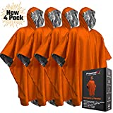 Emergency Blanket Poncho - Keeps You and Your Gear Dry and Warm | Survival Gear and Equipment for Outdoor Activity | Camping and Hiking Gear | Thermal Mylar Space Rain Ponchos | 4 Pack (Orange)