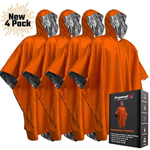 Emergency Blanket Poncho - Keeps You and Your Gear Dry and Warm | Survival Gear and Equipment for Outdoor Activity | Camping and Hiking Gear | Thermal Mylar Space Blanket Rain Ponchos | 4 Pack