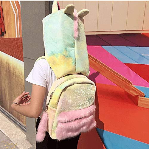 ANAN Detachable Hooded Backpack,Colorful Tie-Dye Plush Schoolbag Creative Unicorn Daypack with Hat,Removable Packsack Women Girls Rucksack for Kids Outdoor Travel