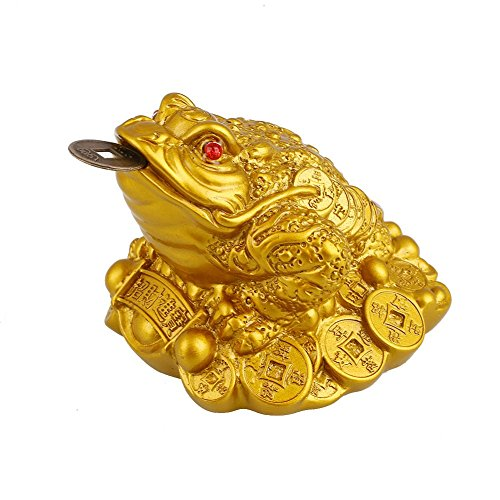 Feng Shui Yuanbao sapo Latón Rana del dinero de cobre para atraer abu