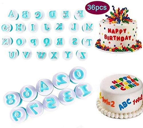 Moldes cortadores de galletas con letras del alfabeto para decoración de pasteles fondant galletas repujado para bodas cumpleaños baby shower decoración de tartas paquete de 36 unidades