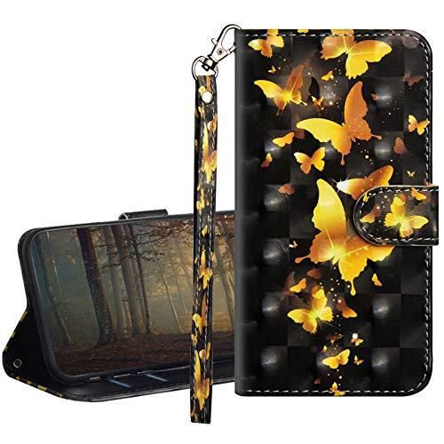 GrandoinChoice Funda para Motorola Moto E5, Superficie Colorida 3D PU Cuero Case Cuerpo Completo Carcasa Protectora Cartera Soporte Plegable Función Fundas Case Cover(Mariposa Dorada)