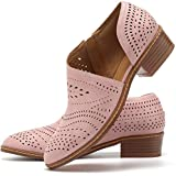 JITUUE Ankle Boots for Women Casual Slip On Loafers Pointed Toe Chunky Block Low Heel Shoes Cut Out Office Dress Comfy Casual Booties(Pink,US 9.5)