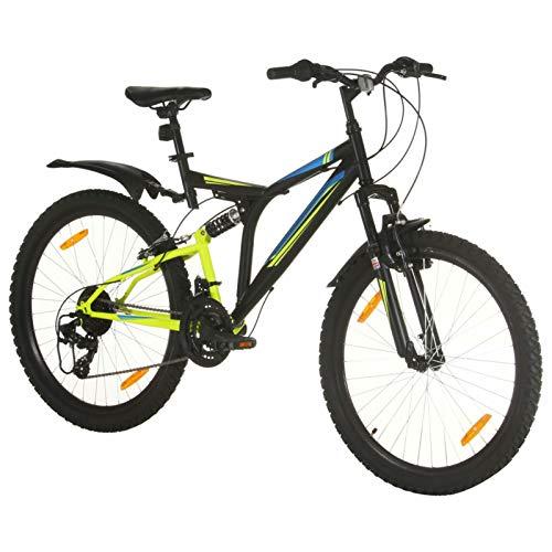Festnight Mountainbike 26 Zoll Fahrrad für Jungen Herren Mädchen Damen Herrenfahrrad Jugendfahrrad Scheibenbremse, Shimano 21 Gang-Schaltung- 49 cm Rahmen Schwarz