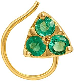 Gehna Yellow Gold and Emerald Nose Pin