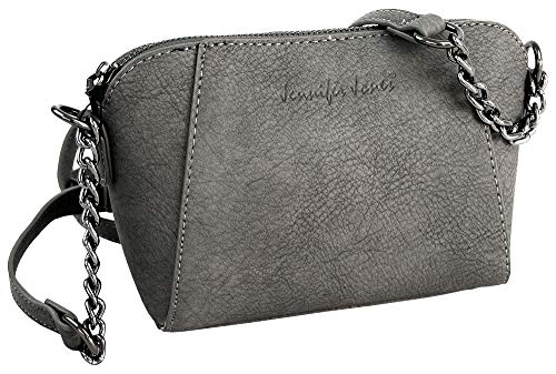 Kleine dames handtas - elegante schoudertas met ketting - crossover schoudertas (grijs)