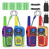 Walkie Talkie Niños Recargable con 2 Cargadores USB 12 Bateria Recargable Walky Talky 4 Piezas 8 Canales 3KM Largo Alcance Función de VOX LCD Juguetes de Camping Senderismo