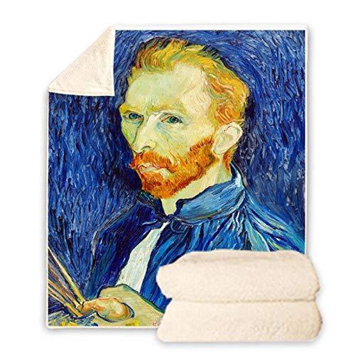 BHOMLY Manta De Tiro Súper Suave Y Cálida 3D Pintura Azul Mundialmente Famosa Autorretrato De Van Gogh 80X130Cm/31X51 Inch Manta Con Capucha Impresa En 3D Niños Adultos Invierno Cálido Sofá Escuela Fa