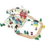 Tren de Juguete de Madera Ferrocarril de Madera Pista de Coches para Niños 3+ Años (80 PCS)