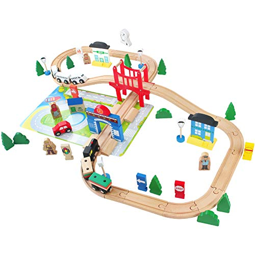 Wooden Train Track 80Pcs Wooden Toys Set Wooden Classic...