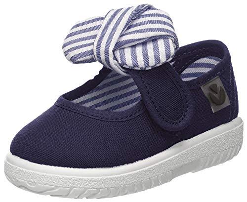 Victoria Mercedes Lona Pañuelo, Zapatos de primeros pasos para Bebé-Niñas, Azul (Marino), 21 EU