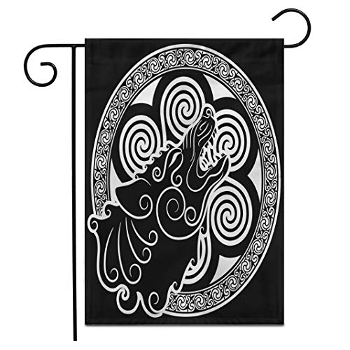 Adowyee 12'x 18' Garden Flag Wolf on Celtic Style Howling Wolf in Celtic Ornament is olated on White Outdoor Double Sided Decorative House Yard Flags
