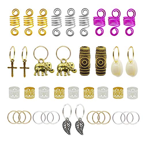 120pcs Dredlock Beads Accessories, Grosun Hair Charms Pendants Hair Rings Braid Cuffs Braid Hair Accessories Braid for Hair