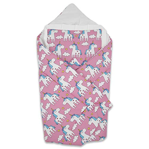 BlueberryShop Wickeldecke mit Kissen | Baumwolldecke | Schlafsack für Neugeborene von 0 bis 3 Monaten | Perfekt als Geschenk für Baby Shower | 78 x 78 cm | Rosa Einhorn