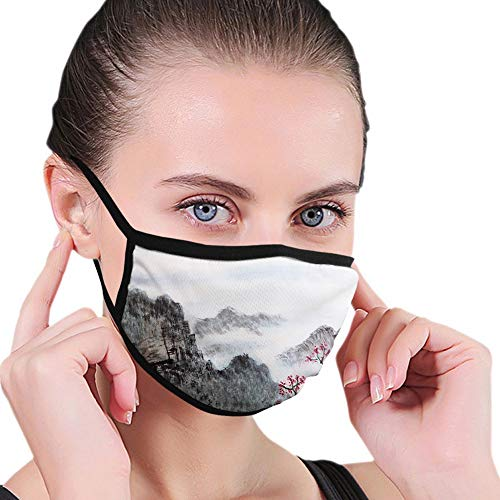 Comfortable Windproof mask,Asian, Traditional Chinese Painting Landscape Sakura Cherry Tree Cloudy Mountains,Seal Brown White Red,Printed Facial decorations for Women and Men