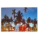 Custom made Miami Beach Florida Hotels Restaurantes At Sunset Puzzles para adultos Puzzle de 1000 piezas para niños y adultos juego desafiante
