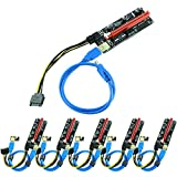 Ziyituod PCIE Riser 1x bis 16x Grafik-Extender geeignet für Bitcoin GPU Mining Powered Riser Adapterkarte, 4 Feste Kondensatoren, 60 cm USB 3.0 Kabel, 2X 6PIN, Molex 3 Netzteiloption,6-Pack