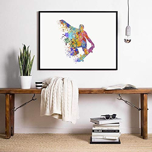 Pintura al óleo Skateboarder lienzo impresiones artísticas y póster deportes salto truco acuarela arte pintura cuadro de pared decoración de habitación de niños 50x75cm