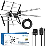 Outdoor TV Antenna 2021 Upgraded 150 Mile Range V/UHF-128F 15dBi Amplifier Gain Multi-Directional Reception Antenna 32.8ft Thicker Coax Cable