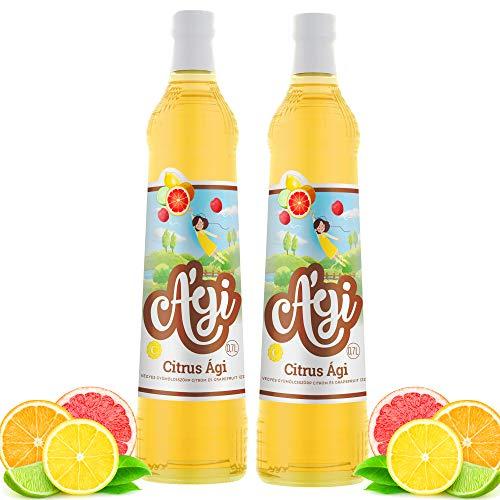 Agi Fruchtsirup Zitronen-Grapefruit Geschmack | Getränke Sirup in Glasflaschen | mit Zucker und Vitamin C | mit 33% Fruchtgehalt | Soda Sirup ideal mit Wassersprudler-Systemen 2erPack(2x700ml)