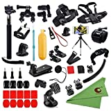 Xixihaha 45-in-1 Camera Accessories Bundle Attachments Kit for GoPro Hero Session Fusion 7/6/5/4/3 and for SJ4000 APEMAN AKASOEK Xiaomi Yi Black Sliver Action Video Cameras Helmet Strap +Floating Grip