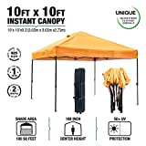 kdgarden 10' x 10' Easy Pop Up Canopy Portable Instant Canopy Shelter for Outdoor Party and Commercial Use, 300D Silver Coated UV Canopy Tent with Wheeled Carry Bag, Orange