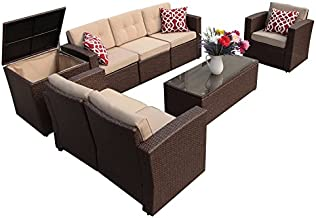 Super Patio 8 Pieces Patio Furniture Set, Outdoor Sectional Sofa, All-Weather PE Wicker Patio Conversation Sets with Storage Box, Tempered Glass Coffee Table, Three Red Pillows, Brown
