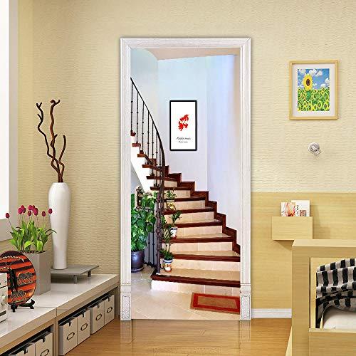 skwff etiqueta de la puerta wallpaper 3D Impresión arte moderno PVC Protección ambiental creativa 3D escalera de caracol etiqueta de la pared sala de estar cocina baño