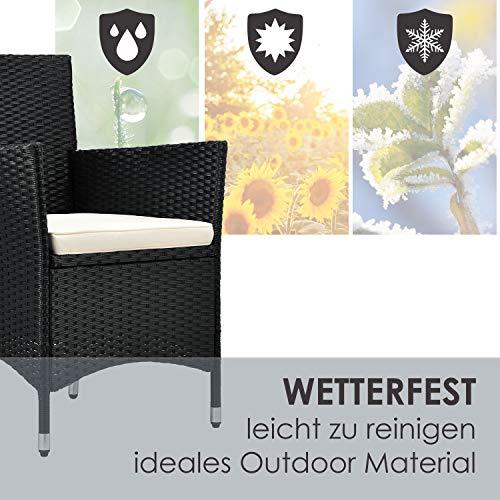 ArtLife Polyrattan Balkon Set Bayamo 2 Personen – Tisch mit Glasplatte & 2 Stühlen – Wetterfeste Balkonmöbel – Auflagen waschbar – schwarz - Creme - 7