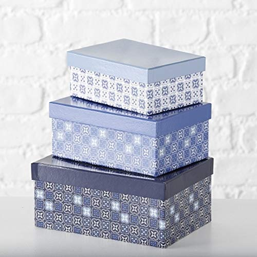 Paper Collection Muebles Hogar Accesorios Decorativos Organización Contenedores Juego de 4 Cubos en Cartón de Almacenaje con Tapa Blanco y Azul Mediterráneo Varios Tamaños