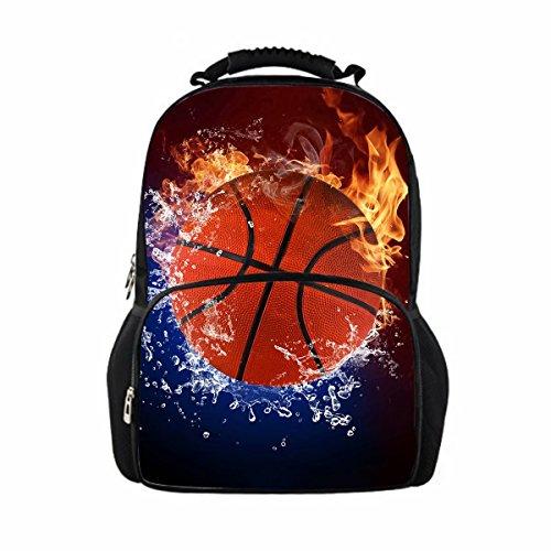Boys Girls Junior School Backpack Flame Basketball Print Designer Book-bag