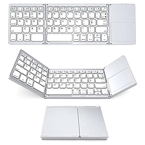 Bluetooth Wireless Triplo Tastiera Pieghevole Mini Computer Portatile Tastiera Portatile Tre sistemi (Color : White)