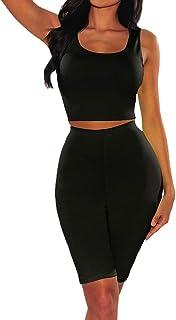 Abiti da donna a due pezzi - estate casual senza maniche crop top + pantaloncini skinny pantaloni aderente tutina tutina