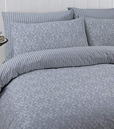 Linen Zone 100% Cotton Reversible Printed Duvet Cover Set, Double - Balia Silver