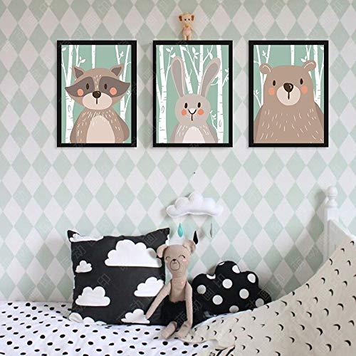 ganlanshu Animal de Dibujos Animados Lindo nórdico decoración del hogar Lienzo Arte de la Pared póster habitación de los niños,Pintura sin Marco,60x80cmx3