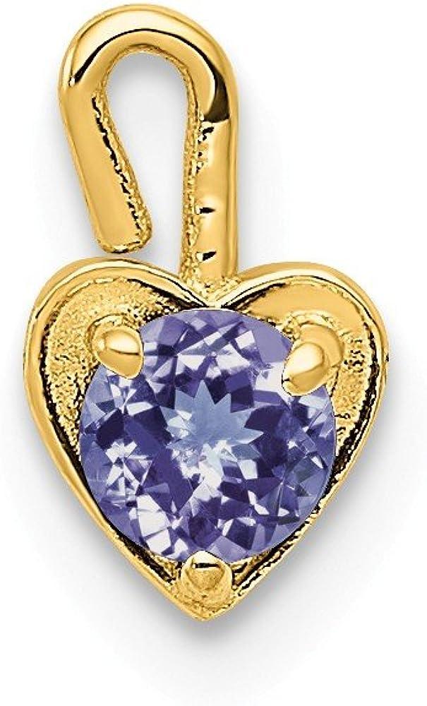 Black Bow Jewelry June Synthetic Alexandrite 14k Yellow Gold Heart Pendant Enhancer 5mm
