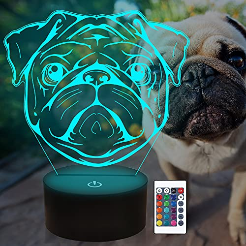 Attivolife Pug 3D Lamp with Remote & Touch Control, Cute Dog Illusion Hologram Bedside Night Light 16 Color Change, Bedroom Decor Creative Christmas Birthday Gift for Kid Child Toddler