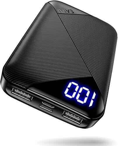 EAFU Powerbank, Mini LED Display 10000mAh Hohe Kapazität Dual 3A USB-C Klein Tragbares Ladegerät, Externer Akku mit Taschenlampe für iPhone XS X 8 Plus Samsung S10 Google LG iPad Airpods und mehr