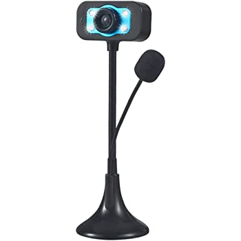 HD Webcam Streaming Camera with Microphone,Genamis 4 LED Night Vison Light USB Web Cam for Mac Windows Laptop,Powerful Suction Cup Base,Desktop Computer Stream Recording,Video Calling Conferencing