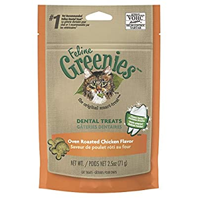FELINE GREENIES Natural Dental Care Cat Treats Oven Roasted Chicken Flavor, 2.5 oz. Pouch