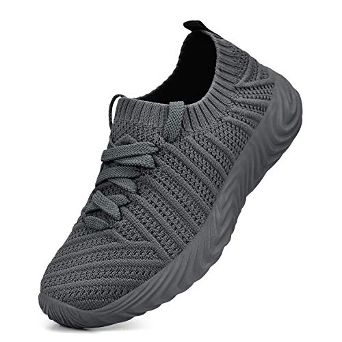 QANSI Boys Running Shoes Black Ultra Lightweight Knitted Athletic Shoes Slip-On Tennis Gym Sneakers for Girls Grey Size 4 Big Kid