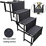 YEP HHO 4 Steps Upgraded Folding Pet Stairs Ramp Lightweight Portable Cat Dog Ladder with Waterproof Surface Great for Cars Trucks SUVs (Black)