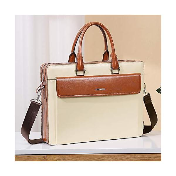 "CLUCI Women Oil Wax Leather Briefcases Slim Large Business 15.6"" Laptop Vintage Shoulder Bag for Men 2"