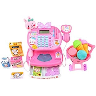 MagiDeal Kids Rabbit Electronic Cash Register With Scanner Microphone Toy - Pretend Play Supermarket Checkout Counter Game, w/ Shopping Cart & Play Food Money Grocery
