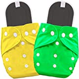 Waterproof/Leak Proof - Double Gusset, Waterproof, Breathable and Reusable TPU outer of bembika pocket cloth diaper come with 5 layer Bamboo Charcoal Inserts Grows With Your Child - Reusable pocket cloth diapers are designed for babies and toddlers 3...