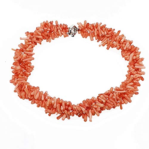 TreasureBay Beautiful Chunky Multi-Strands Pink Coral Branch Necklace